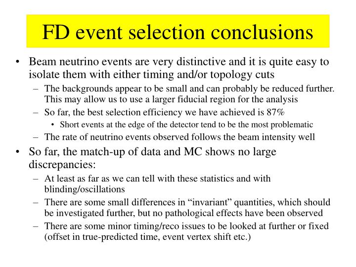 FD event selection conclusions