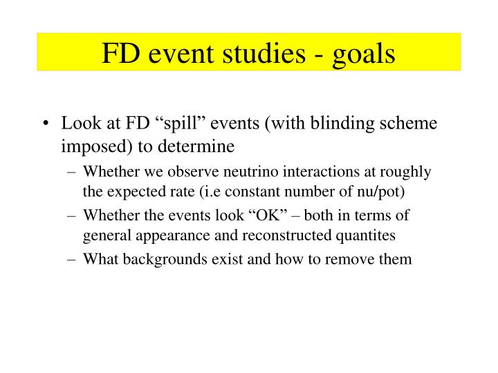 Fd event studies goals