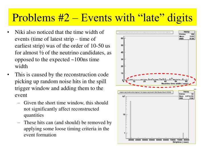 "Problems #2 – Events with ""late"" digits"