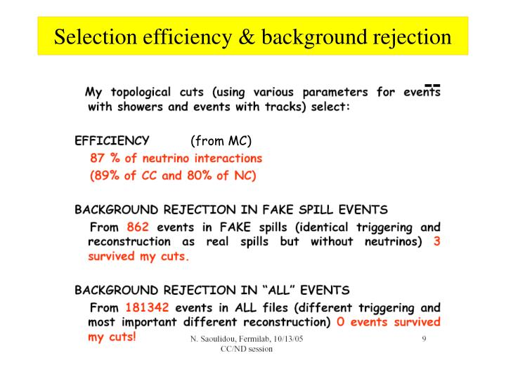 Selection efficiency & background rejection