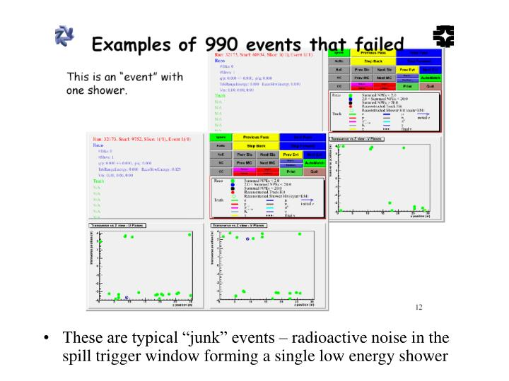 "These are typical ""junk"" events – radioactive noise in the spill trigger window forming a single low energy shower"