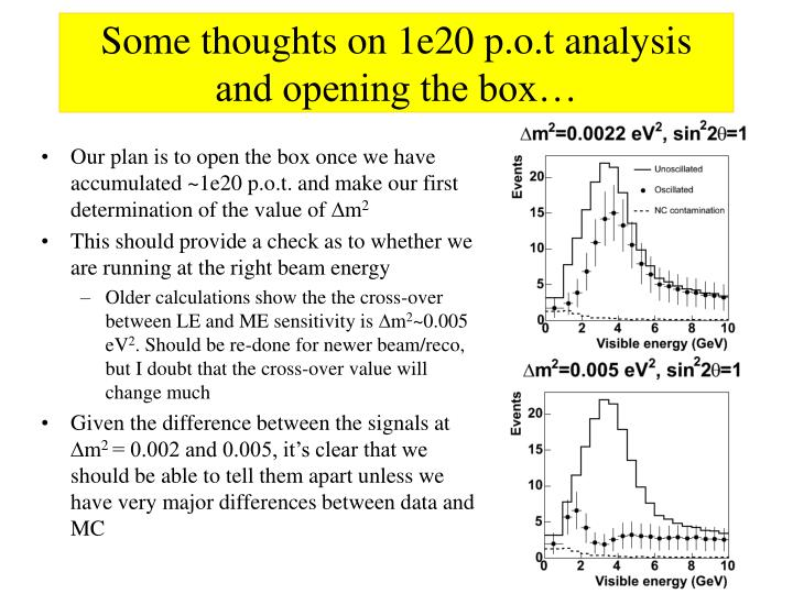 Some thoughts on 1e20 p.o.t analysis and opening the box…