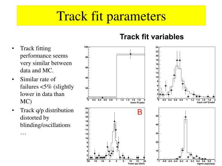 Track fit parameters