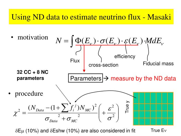 Using ND data to estimate neutrino flux - Masaki
