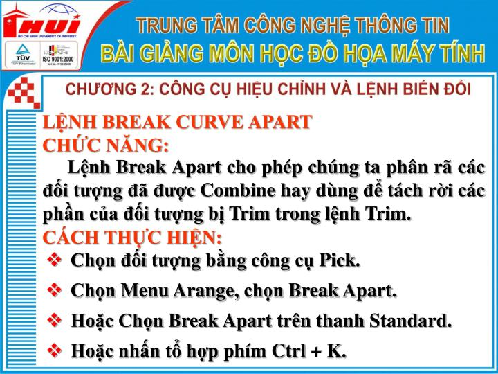 LỆNH BREAK CURVE APART
