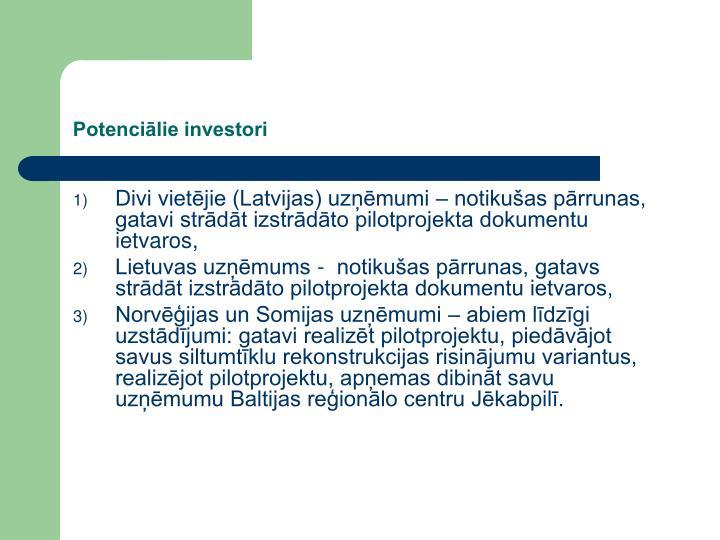 Potenciālie investori
