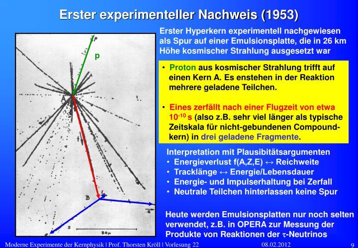 Erster experimenteller Nachweis (1953)