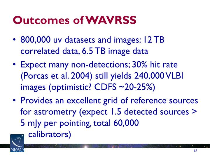 Outcomes of WAVRSS