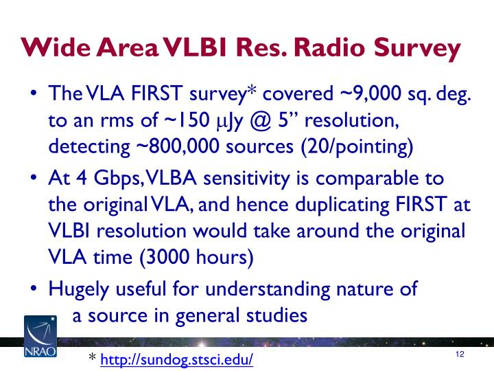 Wide Area VLBI Res. Radio Survey