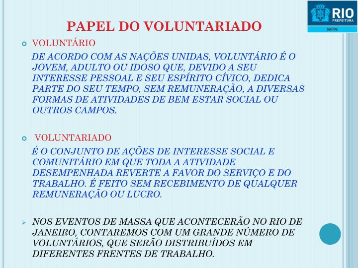 PAPEL DO VOLUNTARIADO