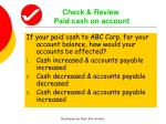 check review paid cash on account