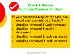 check review purchase supplies for cash