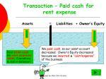 transaction paid cash for rent expense