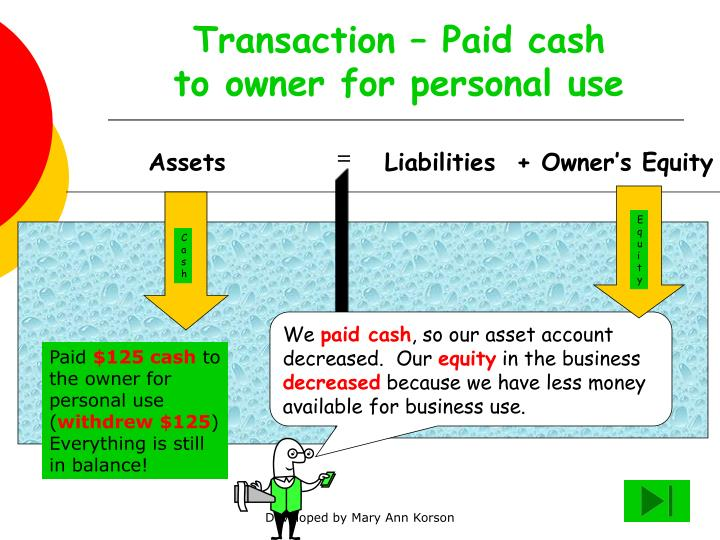 Transaction – Paid cash