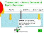 transactions assets decrease equity decreases