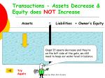 transactions assets decrease equity does not increase