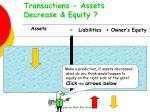 transactions assets decrease equity