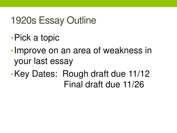 1920s Essay Outline