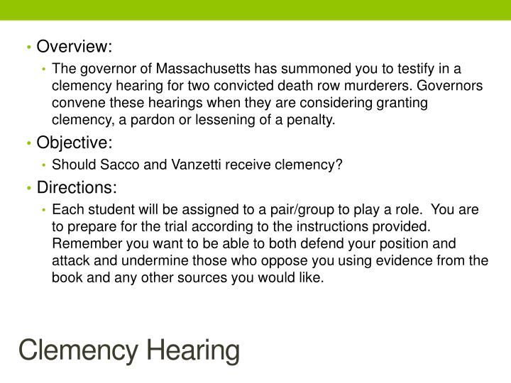 Clemency Hearing