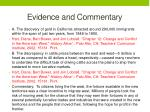 evidence and commentary