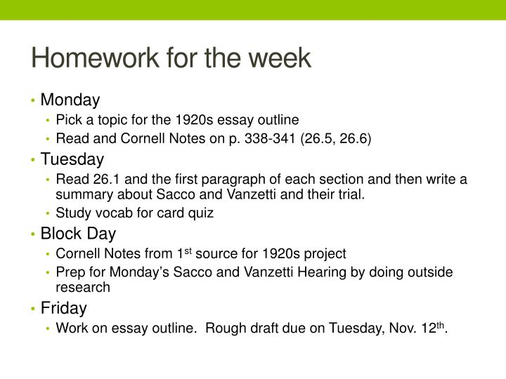 Homework for the week
