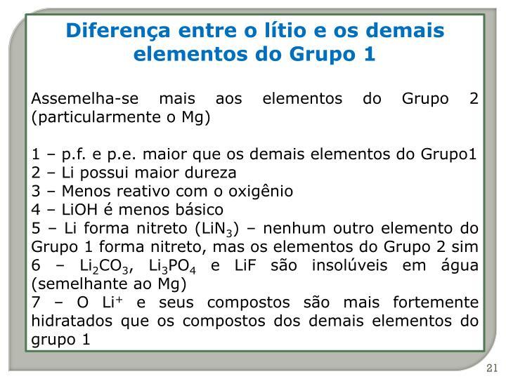 Diferença entre o lítio e os demais elementos do Grupo 1