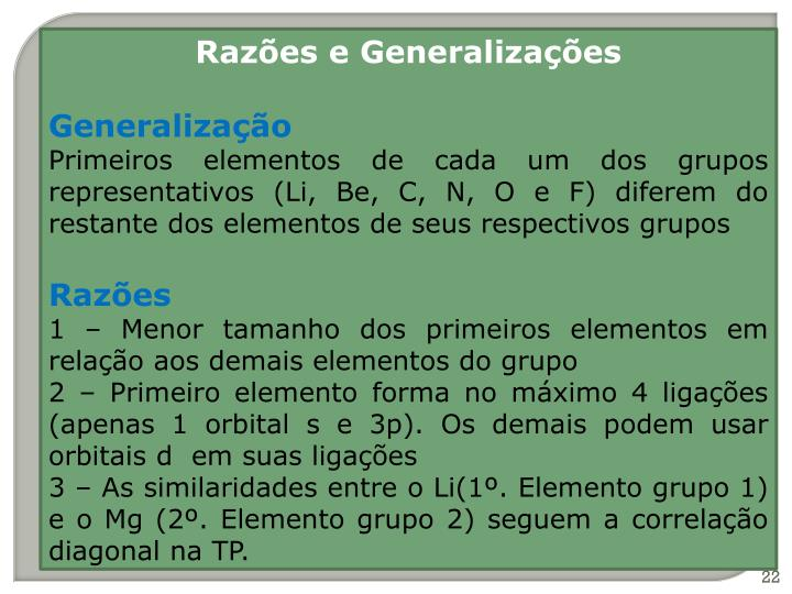 Razões e Generalizações