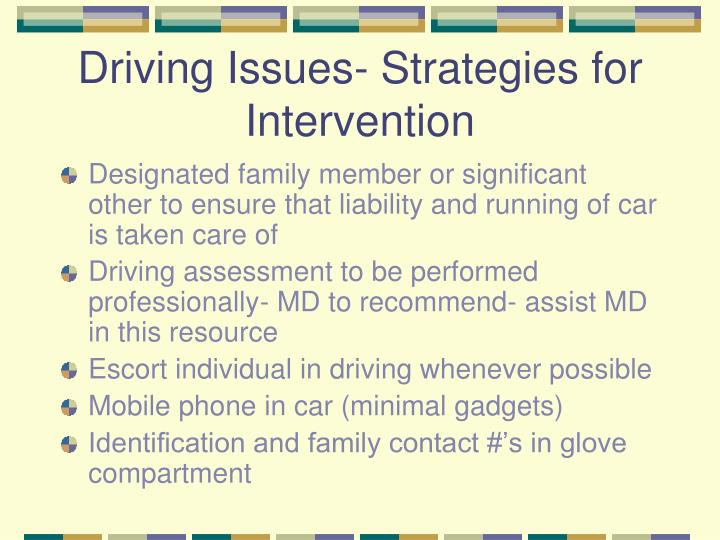 Driving Issues- Strategies for Intervention