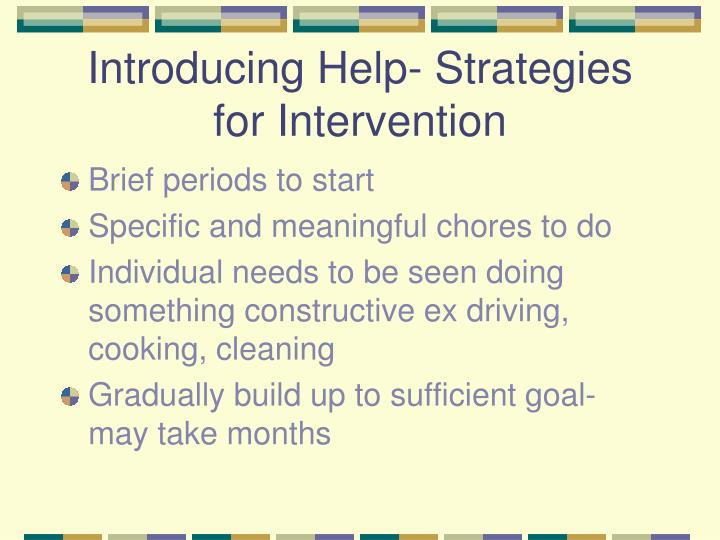 Introducing Help- Strategies for Intervention