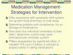 medication management strategies for intervention