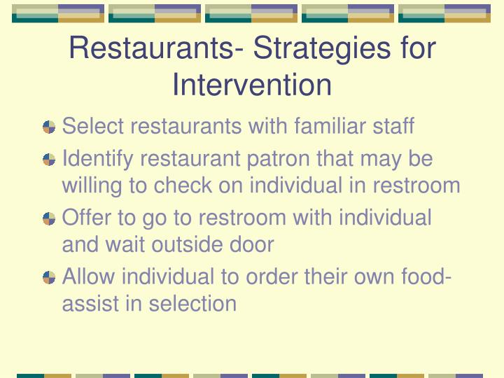 Restaurants- Strategies for Intervention