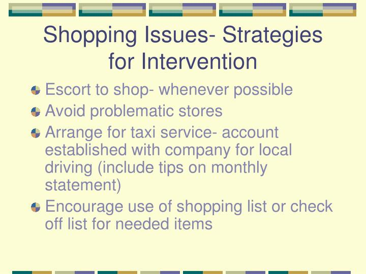 Shopping Issues- Strategies for Intervention