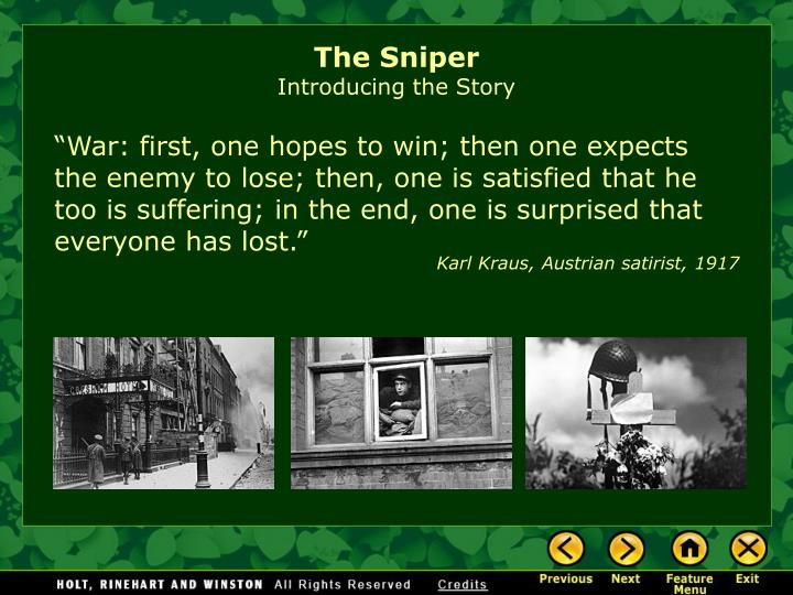The sniper introducing the story