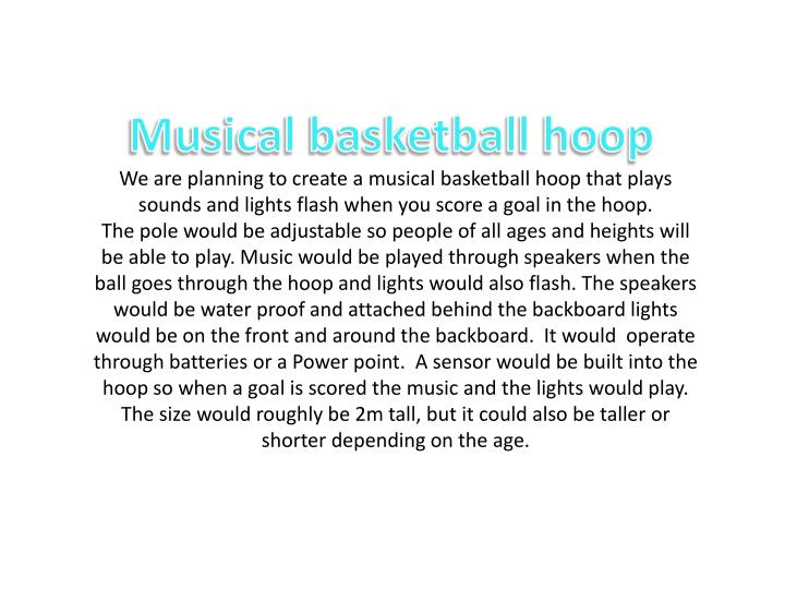 Musical basketball hoop