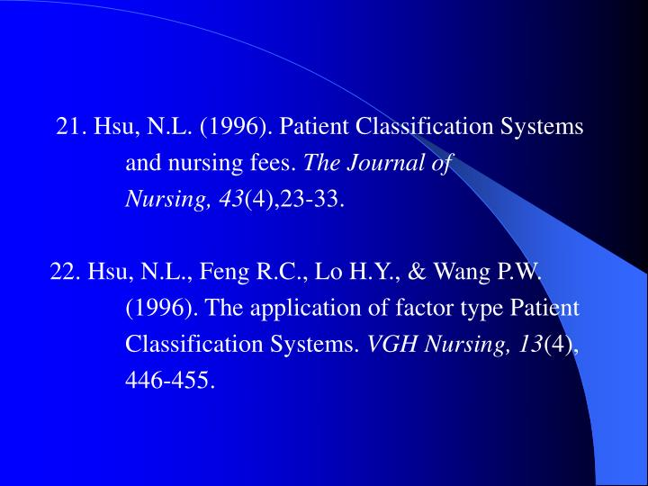 21. Hsu, N.L. (1996). Patient Classification Systems