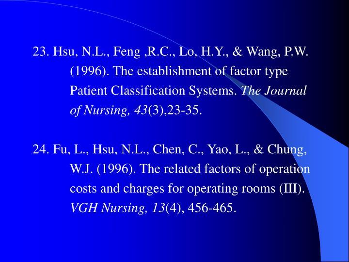 23. Hsu, N.L., Feng ,R.C., Lo, H.Y., & Wang, P.W.