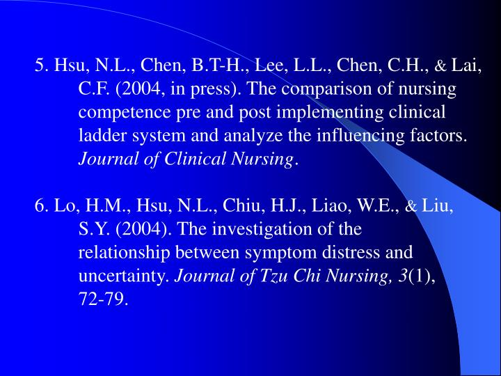5. Hsu, N.L., Chen, B.T-H., Lee, L.L., Chen, C.H.,