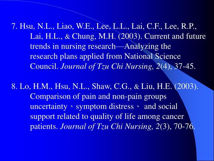 7. Hsu, N.L., Liao, W.E., Lee, L.L., Lai, C.F., Lee, R.P.,