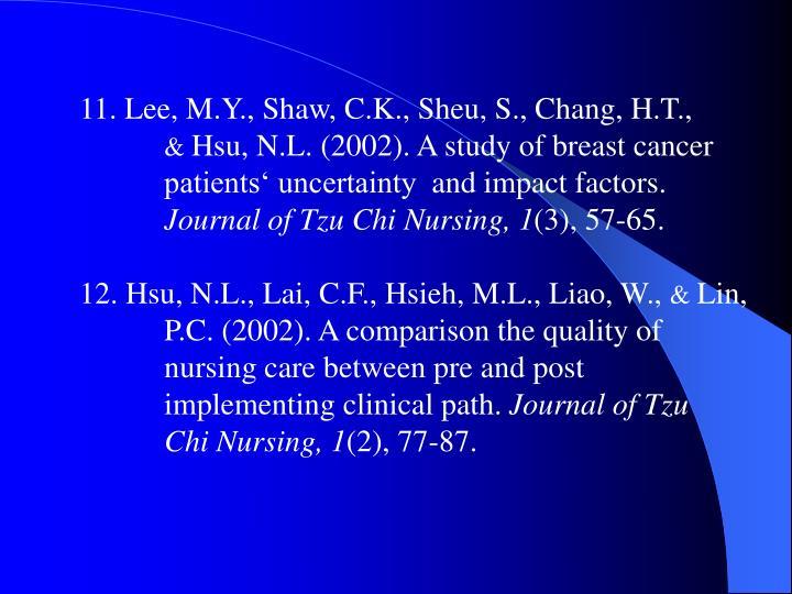 11. Lee, M.Y., Shaw, C.K., Sheu, S., Chang, H.T.,