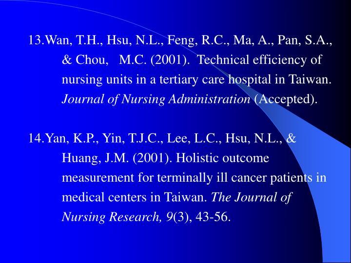 13.Wan, T.H., Hsu, N.L., Feng, R.C., Ma, A., Pan, S.A.,