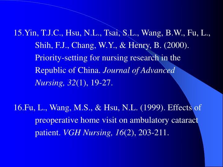 15.Yin, T.J.C., Hsu, N.L., Tsai, S.L., Wang, B.W., Fu, L.,