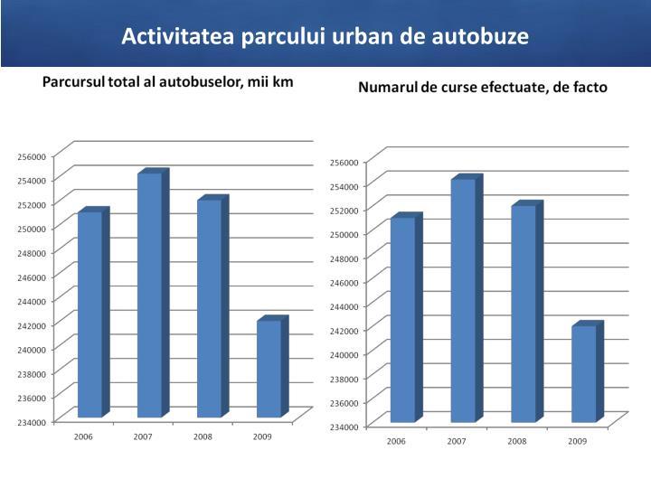 Activitatea parcului urban de autobuze
