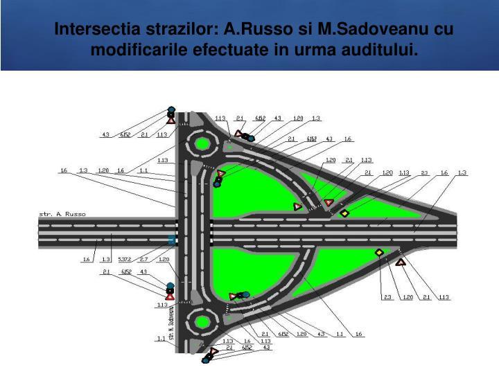 Intersectia strazilor: A.Russo si M.Sadoveanu cu modificarile efectuate in urma auditului.