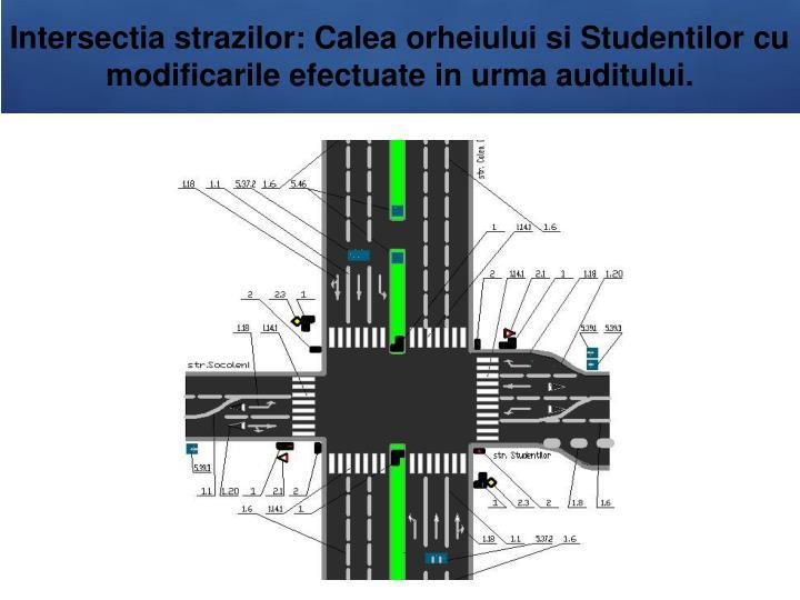 Intersectia strazilor: Calea orheiului si Studentilor cu modificarile efectuate in urma auditului.