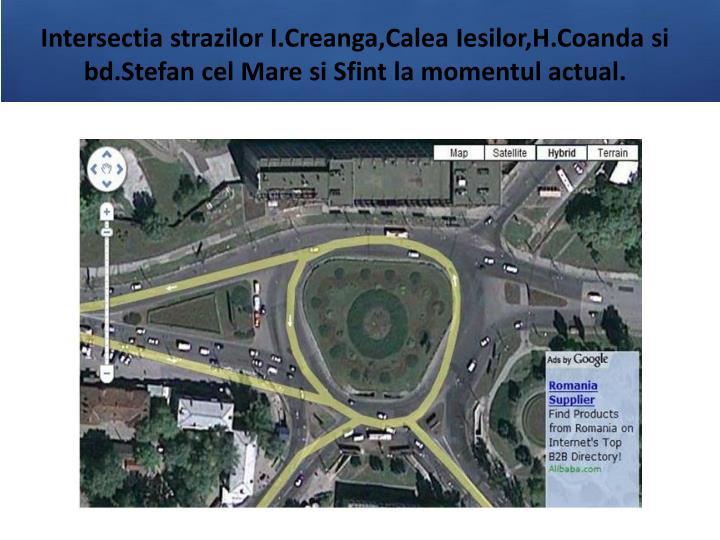 Intersectia strazilor I.Creanga,Calea Iesilor,H.Coanda si bd.Stefan cel Mare si Sfint