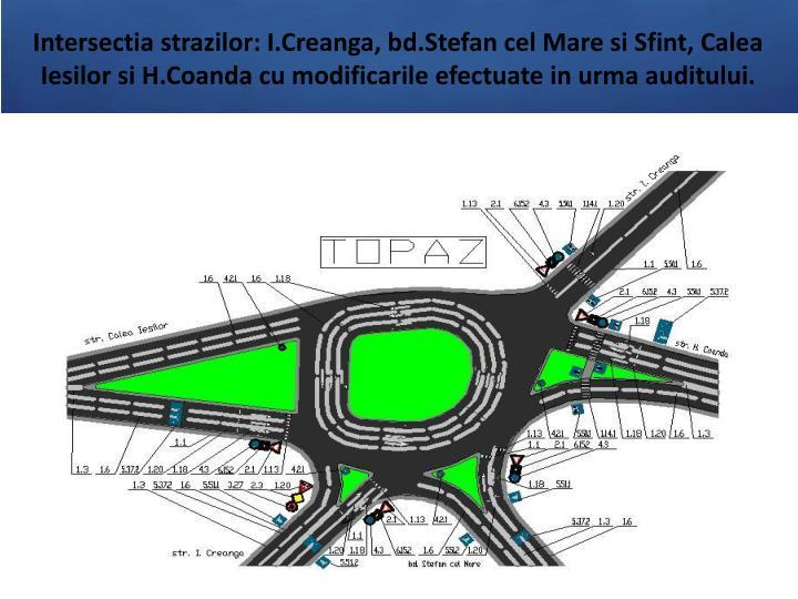 Intersectia strazilor: I.Creanga, bd.Stefan cel Mare si Sfint, Calea Iesilor si H.Coanda cu modificarile efectuate in urma auditului.