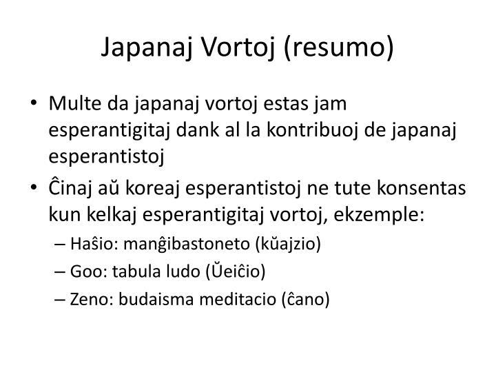 Japanaj Vortoj (resumo)