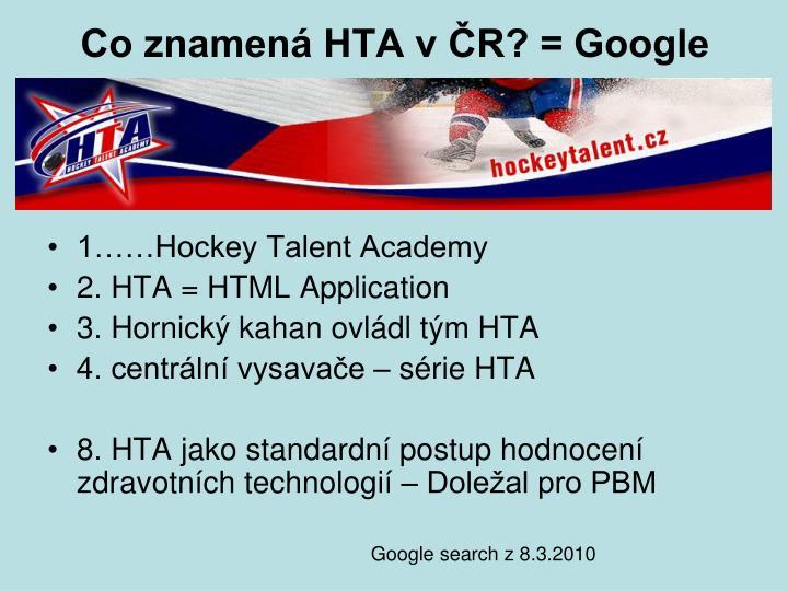 Co znamená HTA v ČR? = Google