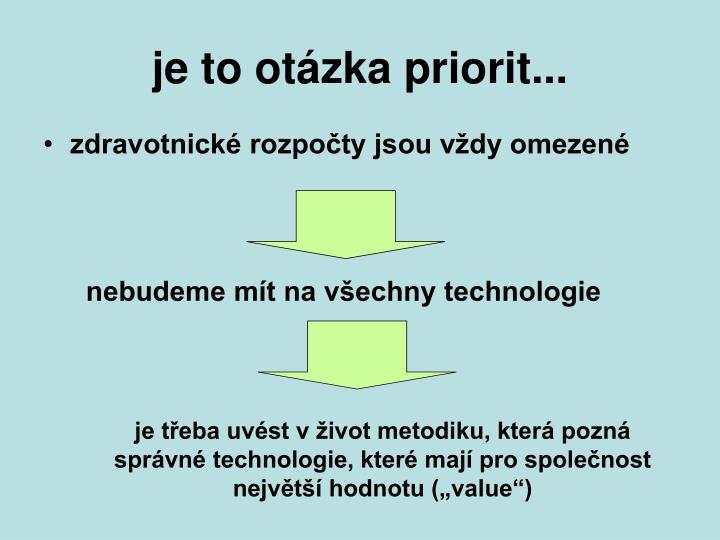 je to otázka priorit...
