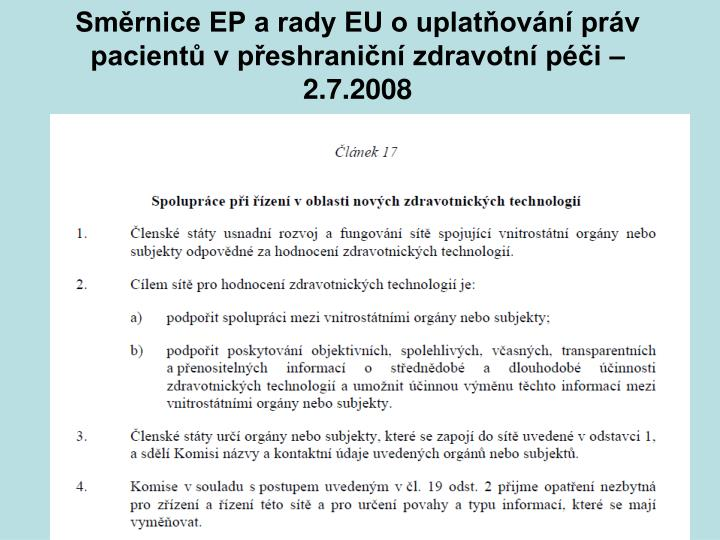 Směrnice EP a rady EU o uplatňování práv pacientů v